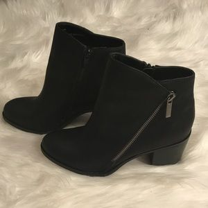 Shoes - Black stacked Heel Zipper detail ankle Booties